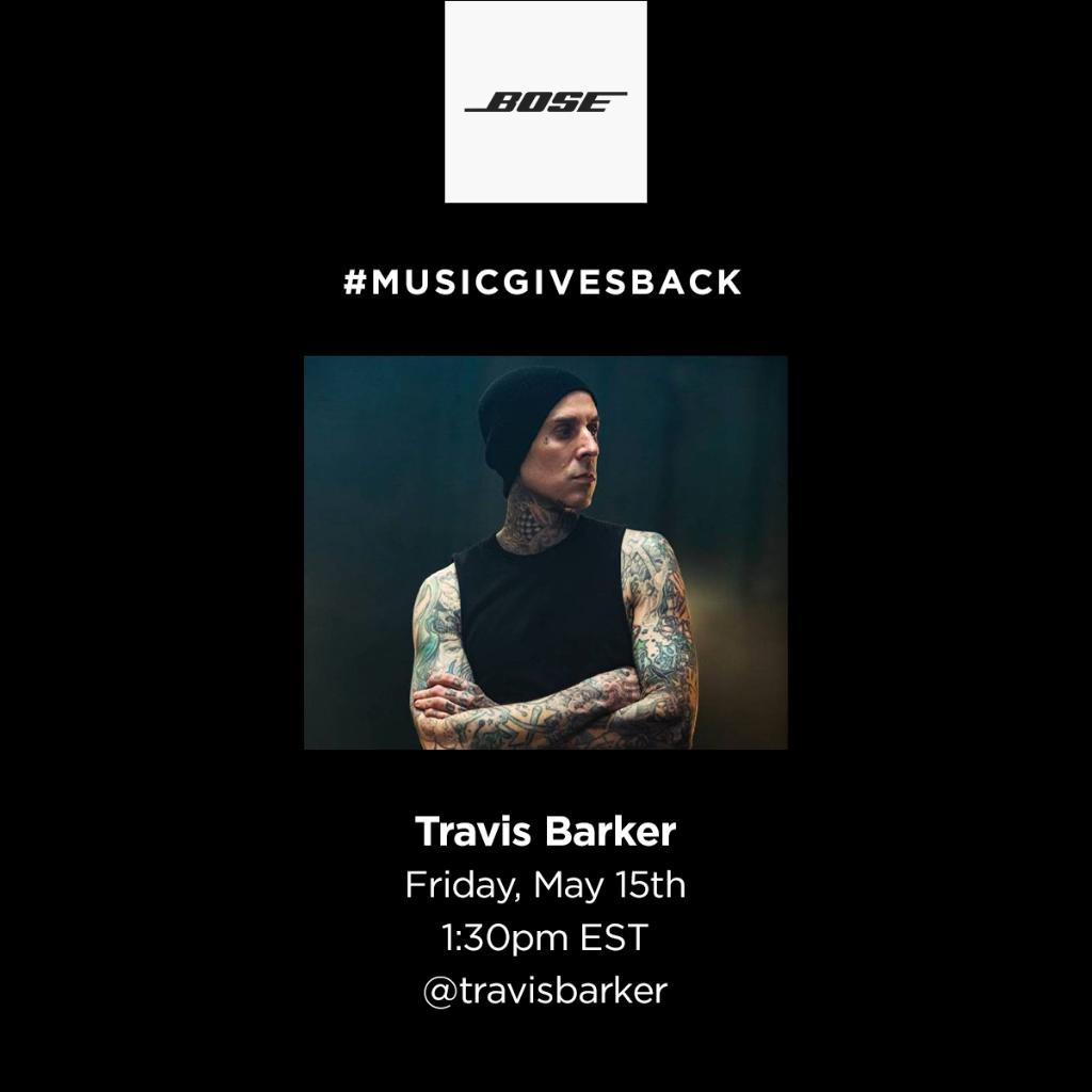 Closing out #MusicGivesBack this week, the one and only drum master, @travisbarker. Join us on Instagram tomorrow at 1:30pm EST for a live drum lesson while we donate to Lost But Not Forgotten CA in his name. https://t.co/QUshHCqfY3
