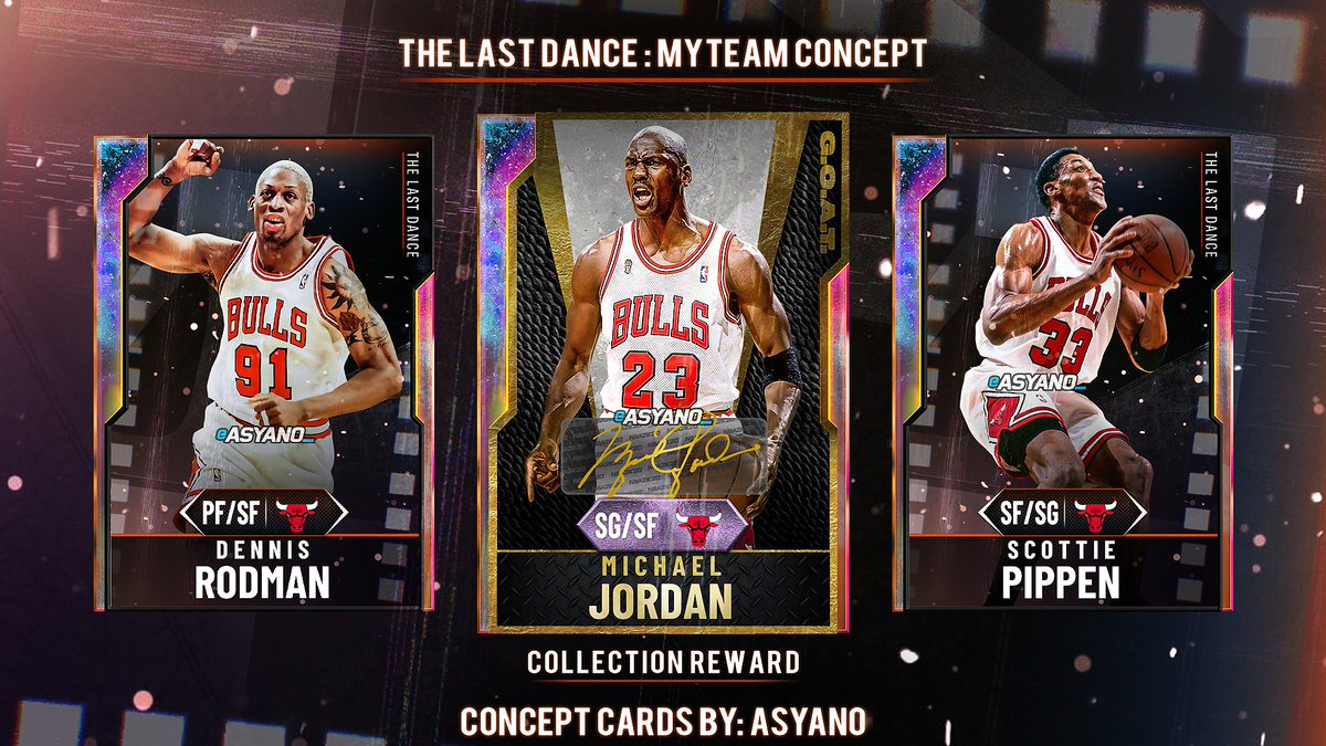 🚨'LAST DANCE' CONCEPTS  Could we see a set-theme with a G.O.A.T. Jordan as a reward soon in MyTeam?  Wanted to include some other important figures seen throughout the documentary, but these three are the most recognized in the true 'last dance'.  ♥️'s and🔁's appreciated! https://t.co/lEbwpq0fT7