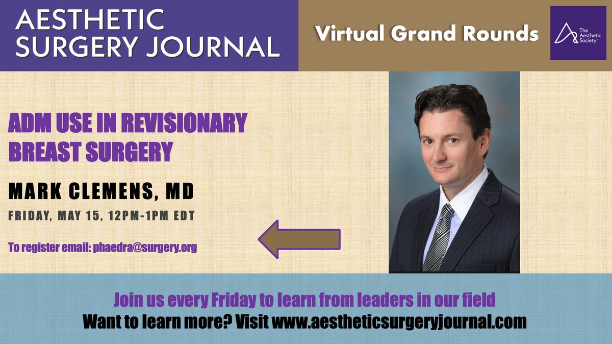Countdown to the next ASJ Virtual Grand Rounds has begun! Join us tomorrow at 9amEDT as @clemensmd presents #ADM use in revisionary #BreastSurgery. Email phaedra@surgery.org to register. @GalateaSurgical @franklista @GabiMiottoMD @PannucciMD @AngelaChengMD @MDAndersonNewspic.twitter.com/CUBqN2Jzhf