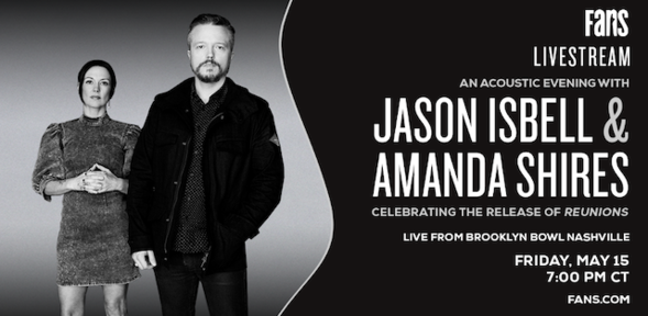 Watch an acoustic performance from @JasonIsbell and @amandashires at Nashvilles @brooklynbowl May 15 at 7pm CDT. Isbells album Renunions is out the same day. buff.ly/3dKJ6zC