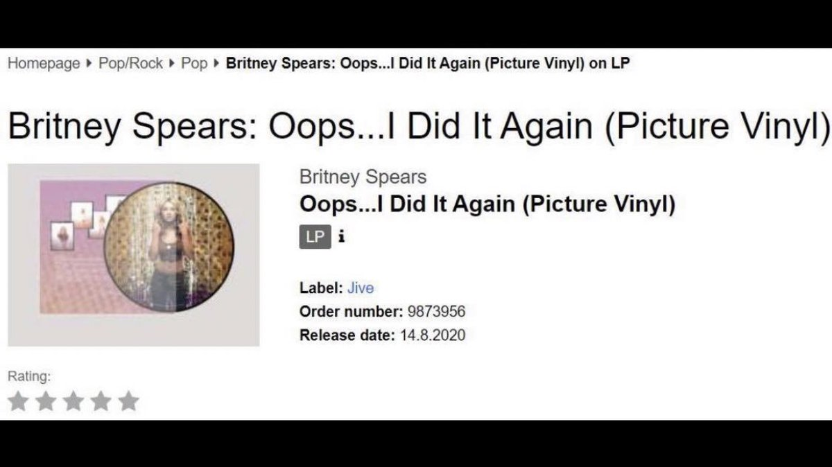 Derek Please On Twitter Oops I Did It Again Is Coming Out This Weekend With Bundles On Britney Spears Official Website The Store Is Currently Down For Its 20th Anniversary Picture Disc