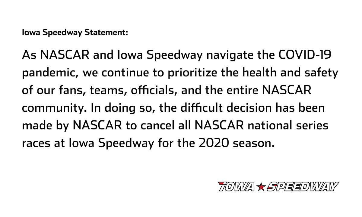 NEWS: 2020 NASCAR national series races at Iowa Speedway cancelled. Details: nas.cr/3fRko2D