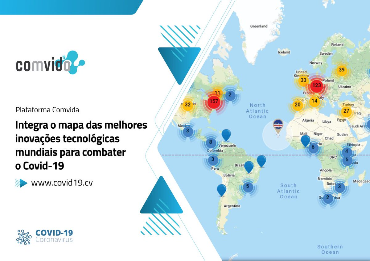 """Once again Cape Verde is on the map!  Our official platform to combat COVID19, Comvida, was highlighted on the """"Covid19 Innovation Map"""", a @StartupBlink portal that maps innovation ecosystems worldwide -> https://bit.ly/3bC0wgh #caboverde #digital #inovacao pic.twitter.com/vu2du00O9h"""