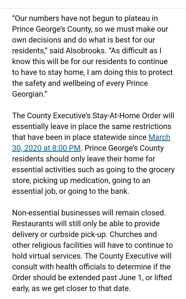 Prince George's County keeping Stay at Home order fully in place. County has highest numbers in state