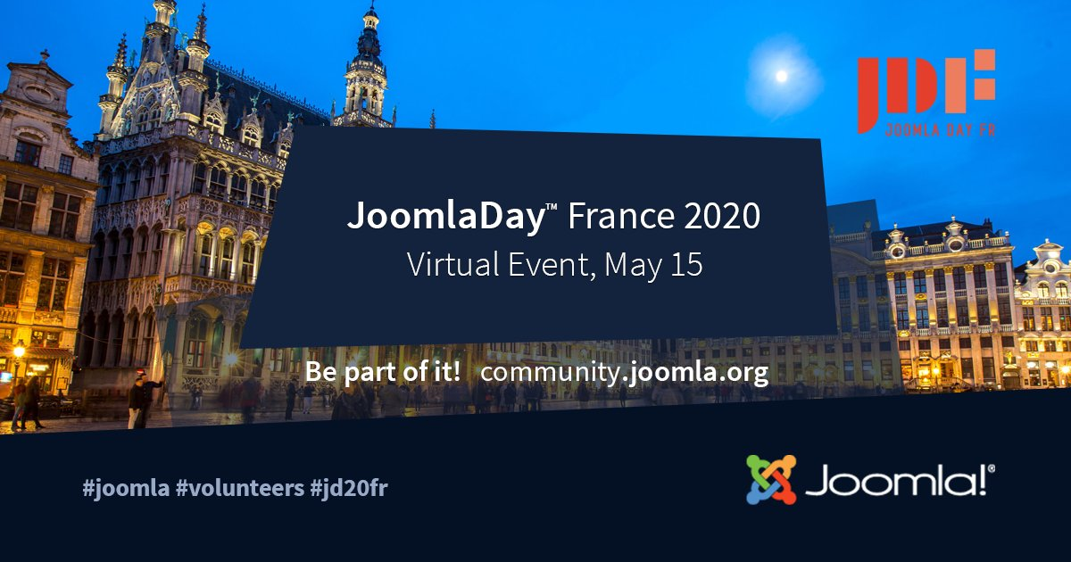 Join Virtual #JoomlaDay France on 15 May 2020 #Joomla #jd20fr For more info check out this and other events  https:// community.joomla.org/events    <br>http://pic.twitter.com/HLb3E8k02h