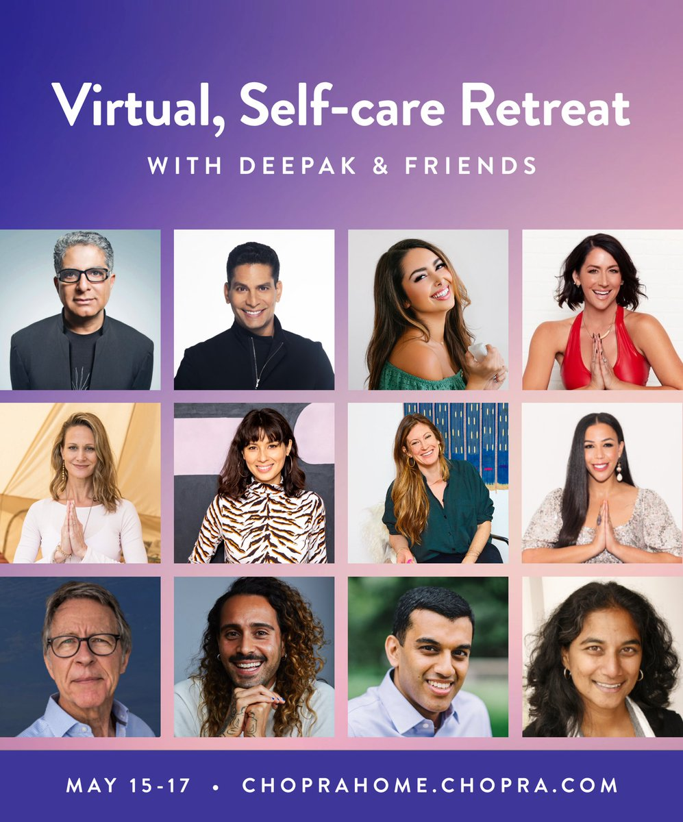 Love @deepakchopra prioritizing self-care with this virtual retreat! Go to the website at the bottom of the picture to register and the first 50 people who use my code: CHR515KL gets in for free if you register by Friday, Noon ET 🙏🏼