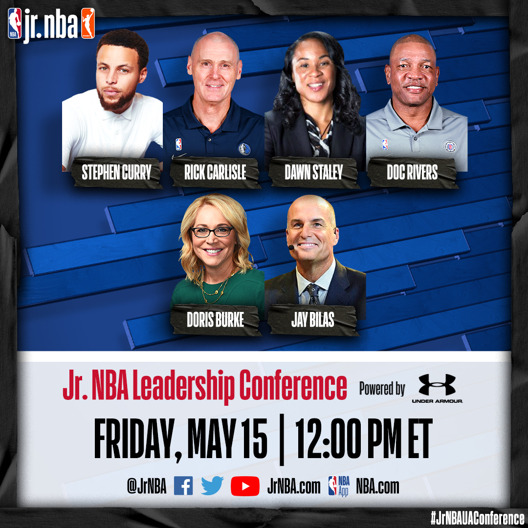 .@stephencurry30 headlines the 4th annual @jrnba leadership conference tomorrow at 12pm ET. The 🆓 virtual event will focus on creating positive change in grassroots hoops. Register now 👉undrarmr.co/2WVpdPH