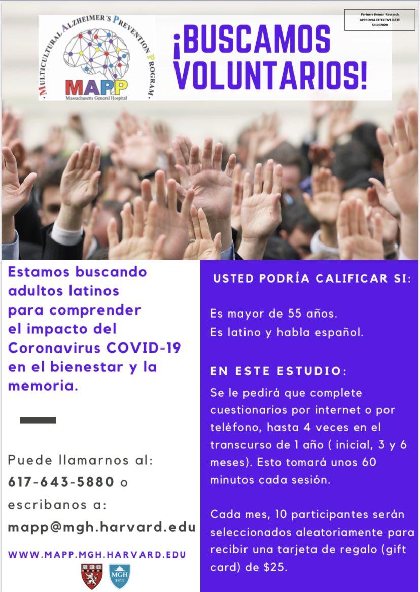 Si están interesados en participar en el estudio de @MGHmapp del #COVID19 en adultos mayores Latinos, pueden encontrar más información aquí en esta página web👇🏼 @HeirangiTT @JairoEM47 @EdmarieGV @EnmaPhD @PAduen16 @ClaraVilaPhD @dmunera12   https://t.co/mExVAizmms https://t.co/Ji7osHy4hS