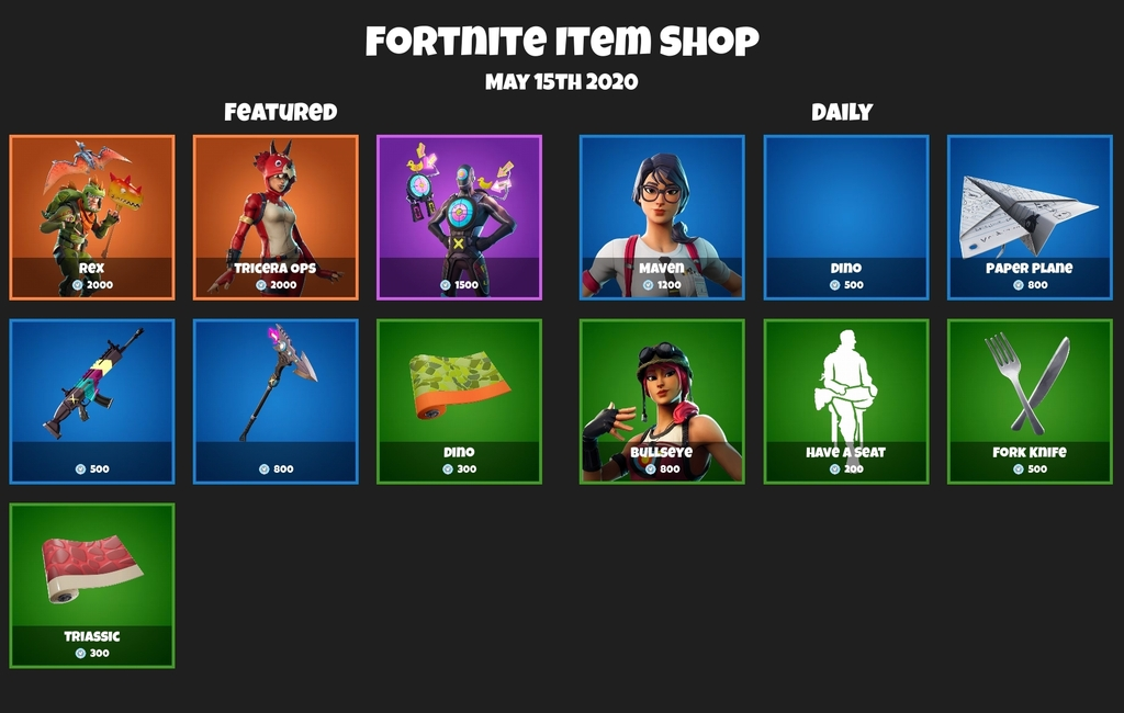 der heutige item shop in fortnite