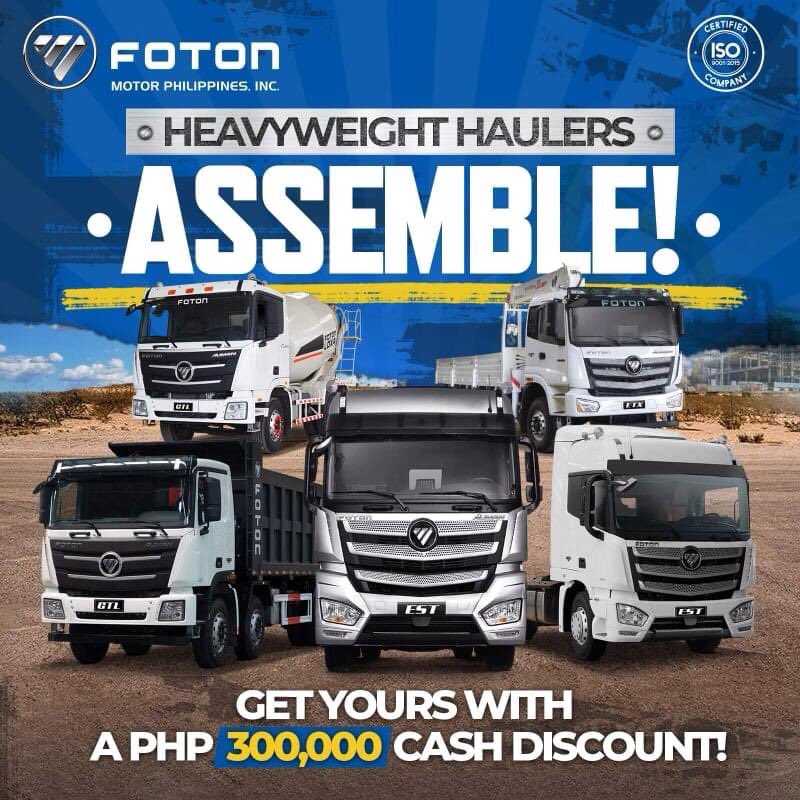 Ready to save the world of logistics with ultimate Cummins-power, tough cargo-carrying capabilities, and gigantic cash discounts! Choose your weapon now! Inquire now! #HeavyDutyTrucks #KayangKayaSaFOTON #EmpowerYourBusinesspic.twitter.com/Gvz6Z2dk0q