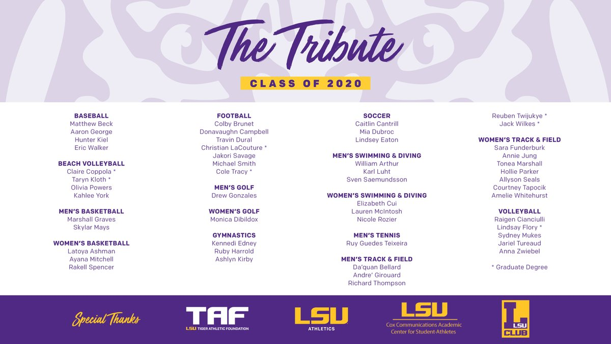 #LSU Athletics honors 51 graduating student-athletes in The Tribute, a virtual ceremony held Thursday evening. lsul.su/2Ay3oyh