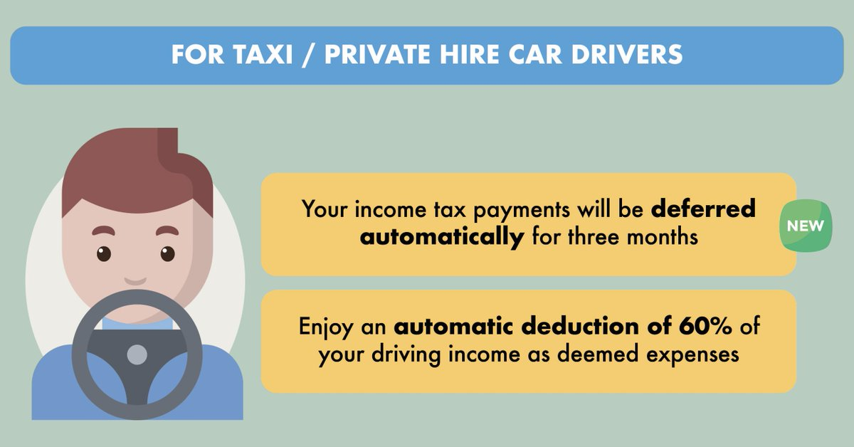 I am a Taxi / Private Hire Car driver. What kind of tax support do I have during this COVID-19 outbreak? 👉🏻 Your income tax payments due in May, Jun and Jul have been automatically deferred for three months. More at https://t.co/it2KKF1e71. https://t.co/FoydIS8kaA
