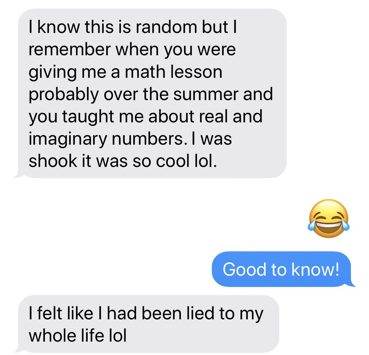 Random text from the 24 yo first-born. Math is undeniably cool. 🤪