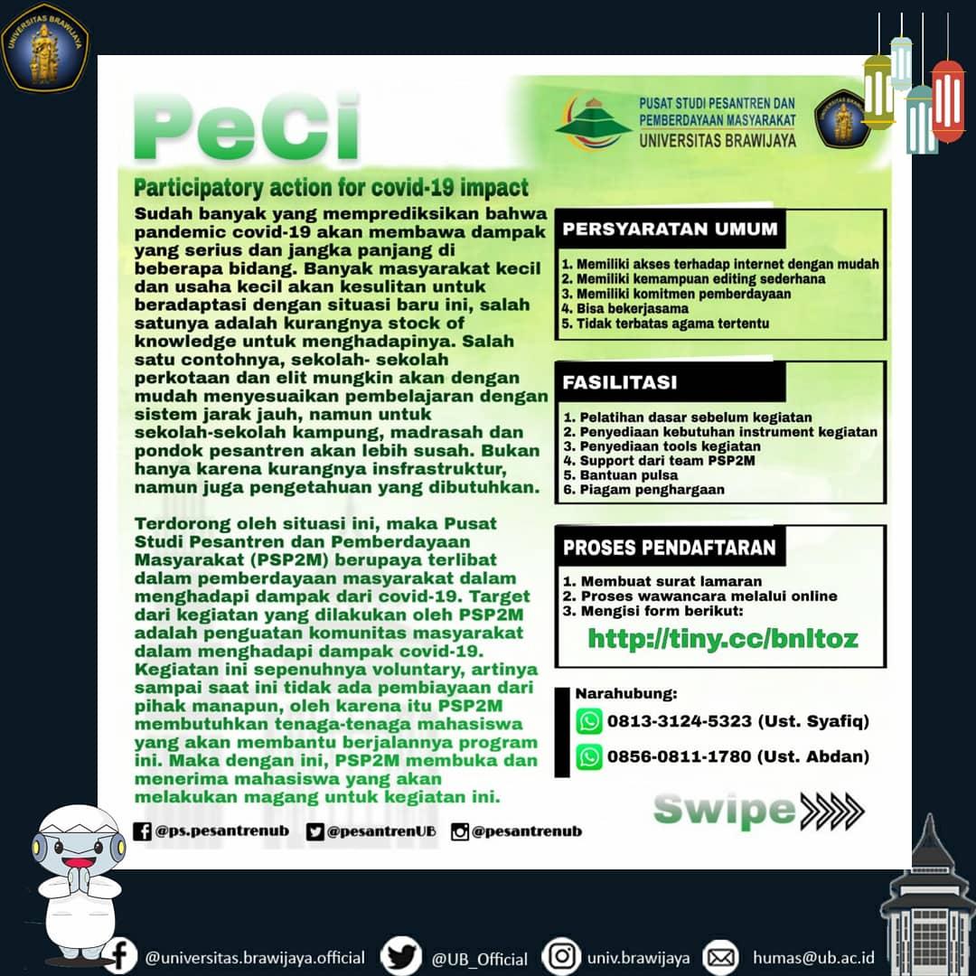 Ada 6 bidang yang bisa #TemanUB pilih. Cek informasi lengkapnya pada gambar atau bisa menghubungi kontak yang tertera ya.  Yuk ikutan!  #UniversitasBrawijaya #KampusUB #PesantrenUB #PSP2M