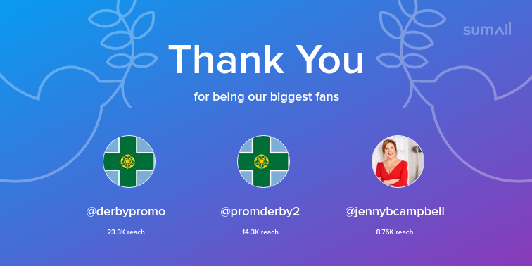 Our biggest fans this week: derbypromo, promderby2, jennybcampbell. Thank you! via sumall.com/thankyou?utm_s…