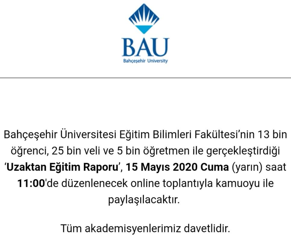 Bahçeşehir Üniversitesi Eğitim Bilimleri Fakültesi'nin 13 bin öğrenci, 25 bin veli ve 5 bin öğretmen ile gerçekleştirdiği 'Uzaktan Eğitim Raporu', düzenlenen online toplantıyla kamuoyu ile paylaşılıyor... @sirin_karadeniz @derin_atay @enisamede @GulogluBerna @YavuzSamur https://t.co/aDZ4L01i8a