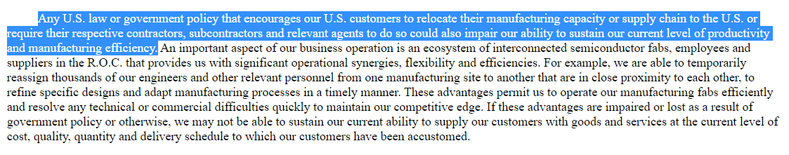 To much fanfare, Taiwanese chipmaker TSMC unveiled plans to build a $12 bln factory in the U.S. today. Worth noting this was actually a risk factor cited in its latest annual report. https://t.co/6e5feuxUL2