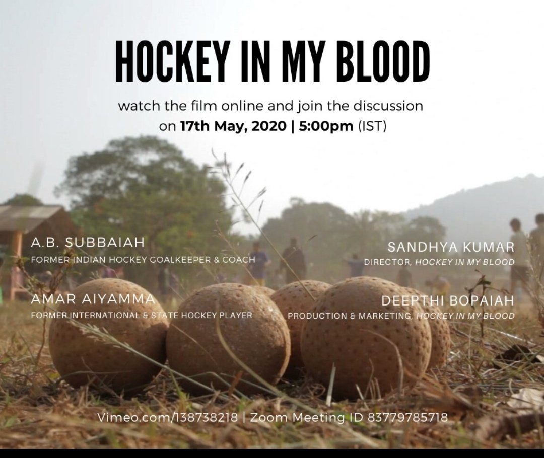Want to know more about the world's largest field hockey tournament? Do join& listen to the Director of #Hockeyinmyblood  #Sandhyakumar & Hockey greats #ABSubbaiah #AmarAiyamma talk about their journey to play for India! 17th May 5pm -link  @TheHockeyIndia