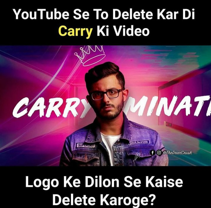YouTuber Carry Minati's videos had taken the internet by storm but today, the video was removed citing violation of terms of service as a reason. His fans have come in support of the creator.