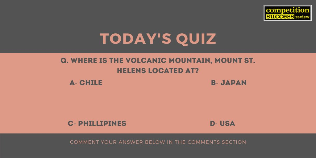 Comment the answer in the comments section. The correct answer will be posted by 6 PM today. #CSRQuickPrep #CSRMagazine #Competitionsuccessreview #CurrentAffairs #currentaffairsupsc #CurrentAffairsQuiz #QuestionOfTheDay #upsc #upsc2019 #upsc2020pic.twitter.com/MGkUmJtmbg