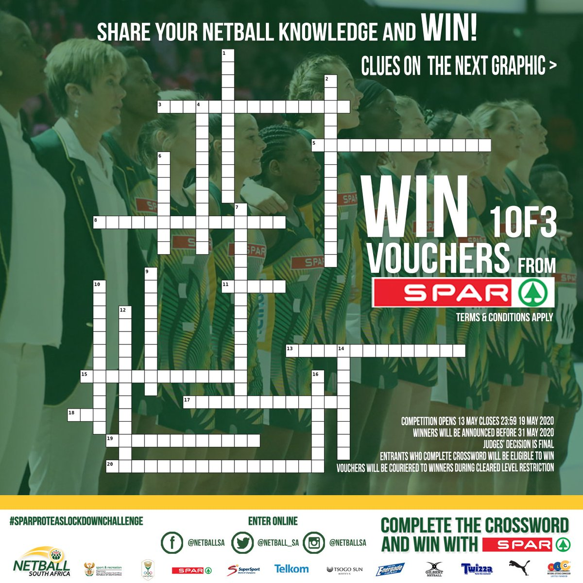 Netball South Africa On Twitter Win Win Win 1of3 Vouchers From My Spar In Our Crossword Puzzle Competition Here S What You Have To Do Like Rt Complete The Crossword