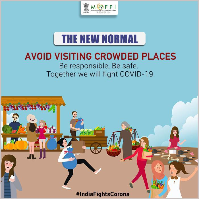 Our safety is in our own hands. Avoid visiting crowded places as a part of the new normal. Protect yourself and others against #COVID19 by staying indoors and staying safe.  #HealthForAll  #IndiaFightsCorona #CoronaOutbreak  #Lockdown3 https://t.co/yOrSl7WMSO