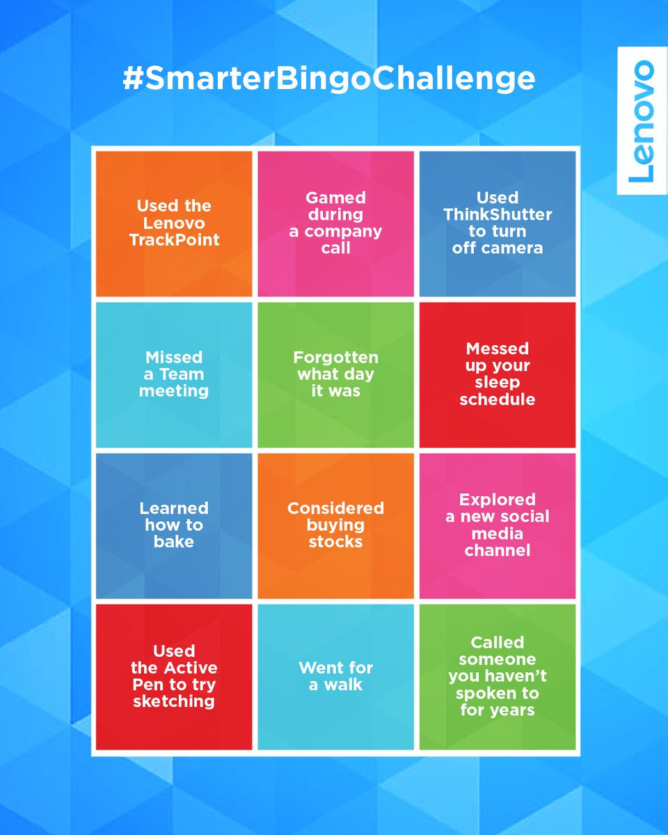 How have you been keeping yourself occupied during this time? Share your experiences with us to be featured on our channel #SmarterBingoChallenge #Lenovo #Smarter #BingoChallenge https://t.co/BXKbswPIhw