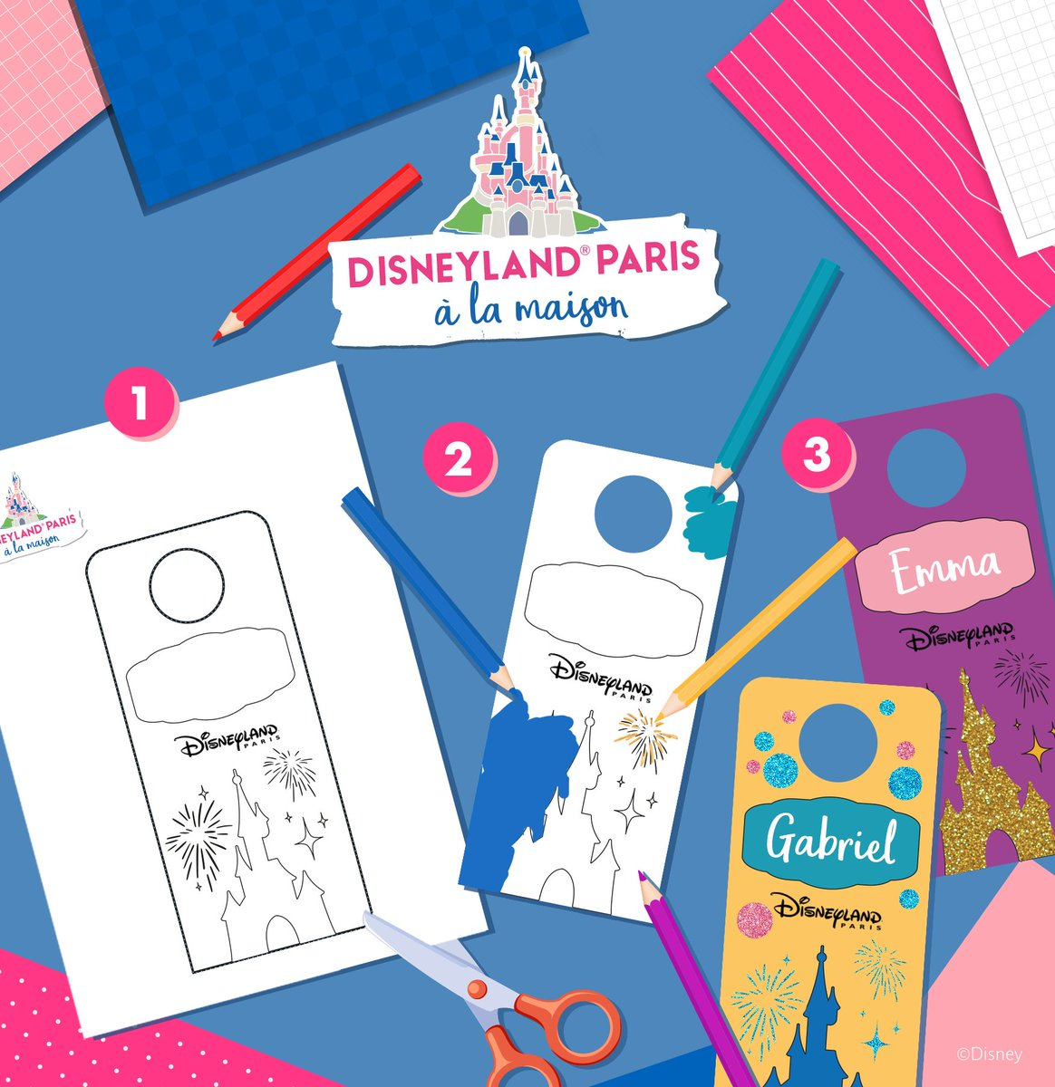 """Ajoutez une touche de magie à votre intérieur avec ces accroche-portes personnalisables ! ✨ Retrouvez plus d'activités  sur le site """"Disneyland Paris à la Maison"""": https://t.co/ysFnfAgISb https://t.co/V5KRM7VX8a"""