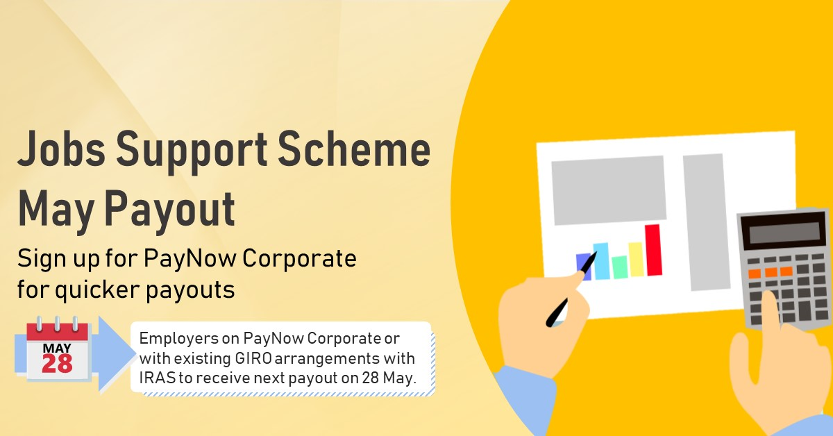 The May JSS payout will be disbursed to employers on PayNow Corporate/ have existing GIRO arrangements with IRAS on 28 May.   All other employers will start receiving their cheques from 3 Jun. Sign up for PayNow Corporate by 22 May for quicker JSS payouts. https://t.co/kp6hbgUfEB https://t.co/WuHRwDpWmn