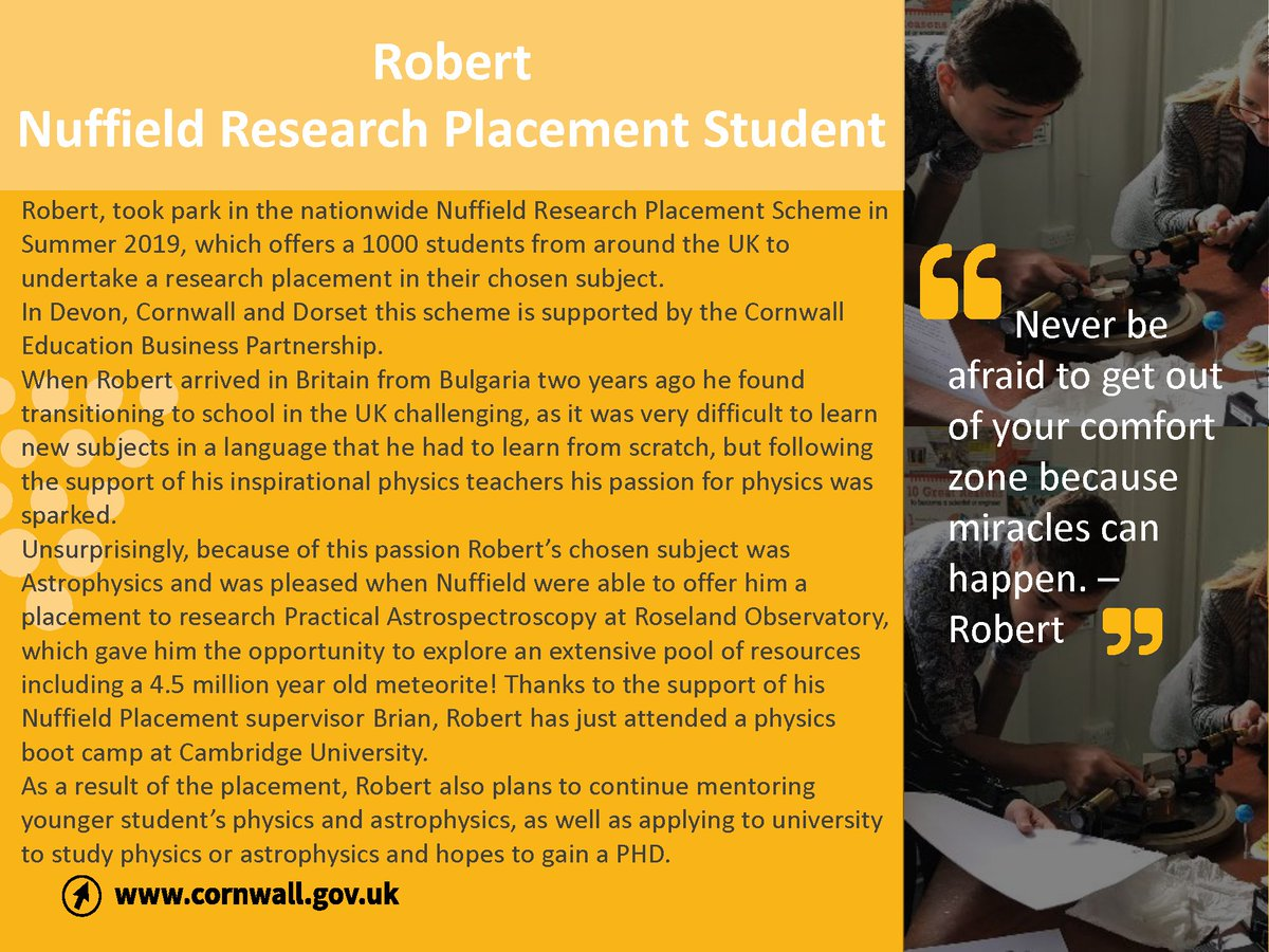 Could you support a student like Robert achieve their STEM career aspirations?   To find out more or to get involved email us: NuffieldSouthWest@cornwall.gov.uk   @NuffieldFound  #nuffieldsummer #Careers #Research #STEM #TheFutureisBright https://t.co/jsTqKnA8i2