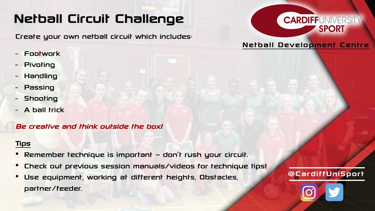 #StayAtHome Netball 🏐🔴⚫️ Week 5️⃣  Time to get creative! 🙌  The next Cardiff University Netball Development Centre session is a fun circuit challenge 😃   Share your 🎥 with us ⬇️ Pob lwc! 🍀   @WelshNetball @CentralSouthWN https://t.co/lK2cQXCU5A