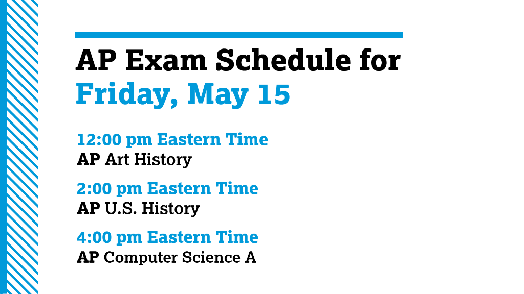 ---- Todays AP Exam Schedule ----- ✅ Get the test day checklist. spr.ly/6015G6JW1 ⏰ All AP exams start at 12 pm, 2 pm and 4 pm Eastern Time. You can use this time zone converter if youre unsure of your local testing time: spr.ly/60161Ca0o.