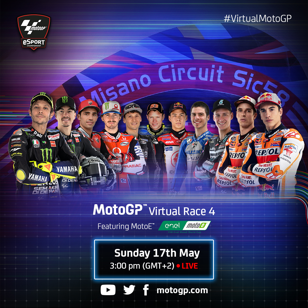 Take note, global @MotoGP fans! On Sunday, we'll be streaming Virtual Race 4 live from Misano, where we'll be featuring MotoGP and MotoE. You don't want to miss out! #DHLMotorsports #MotoGP https://t.co/oD6dy9G0rm