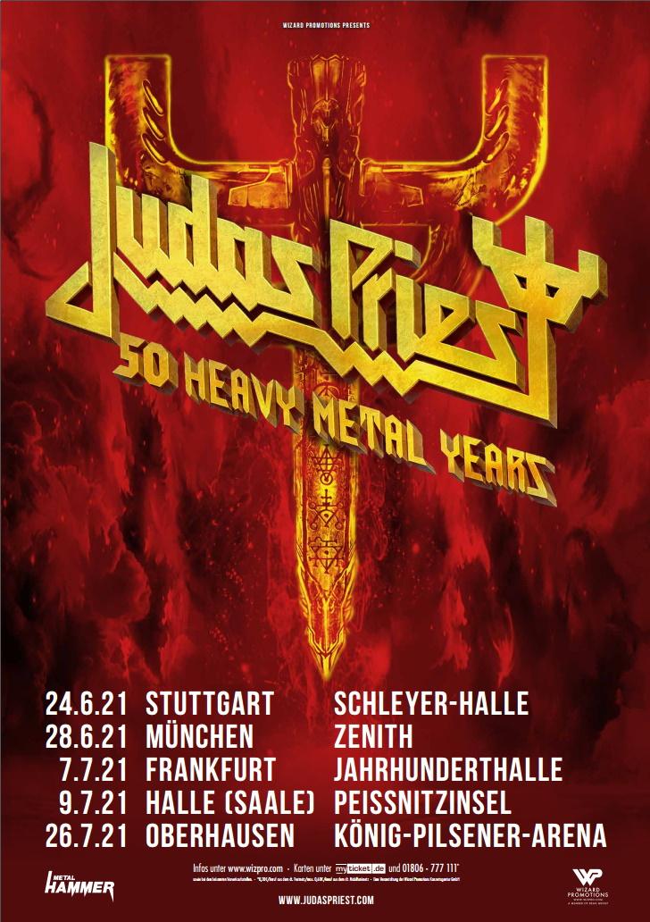 "Judas Priest en Twitter: ""Judas Priest - Germany 2021 Rescheduled tour dates #metalmaniacs #judaspriest #germany… """