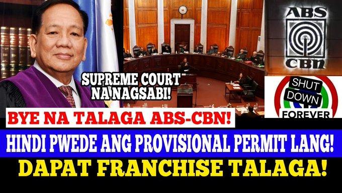 JUST IN: SUPREME COURT NA ANG NAGSABI BAWAL ANG PROVISIONAL AUTHORITY DAPAT FRANCHISE ABS CBN -  (2020)
