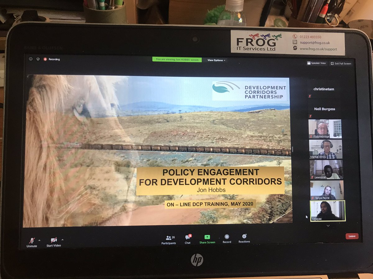 Zoom based online training today on development corridors in East Africa. Online delivery working well for researchers and NGO and CSO staff around the world. Well done to the team @devcorridors and @unepwcmc and @csandbrook and everyone else for putting this together. It works!
