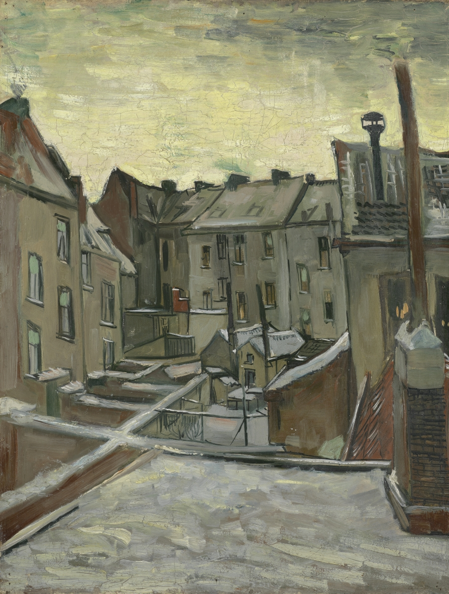 What do you see when you look outside? This is what Vincent saw when he looked out of the window of his small room in Antwerp. He was more interested in the backs of the houses, all crammed together, than the fancy facades at the front.