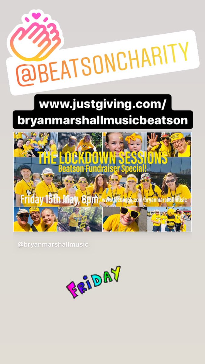 It's our LOCKDOWN SESSIONS fundraiser special for the @Beatson_Charity live tonight at 8pm on my Facebook page! Would love you to join us for songs & smiles! 😊💛 #bepositive #teambeatson #justsing #lockdown #wearefamily