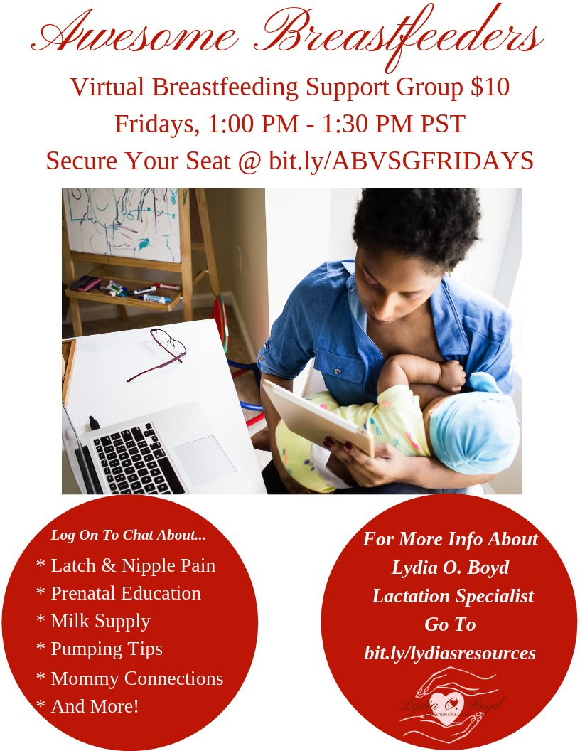 Today! Join me to chat about breastfeeding in the comfort of your home, desk, car, or during your walk. Come with your questions, accomplishments, and plans. Every Friday 1 PM PST via Zoom. Secure your spot at https://buff.ly/2UwWu5z  #LYDIAOBOYDCLE #BREASTFEEDING #MOMMYTIPS pic.twitter.com/qUY71X9laz