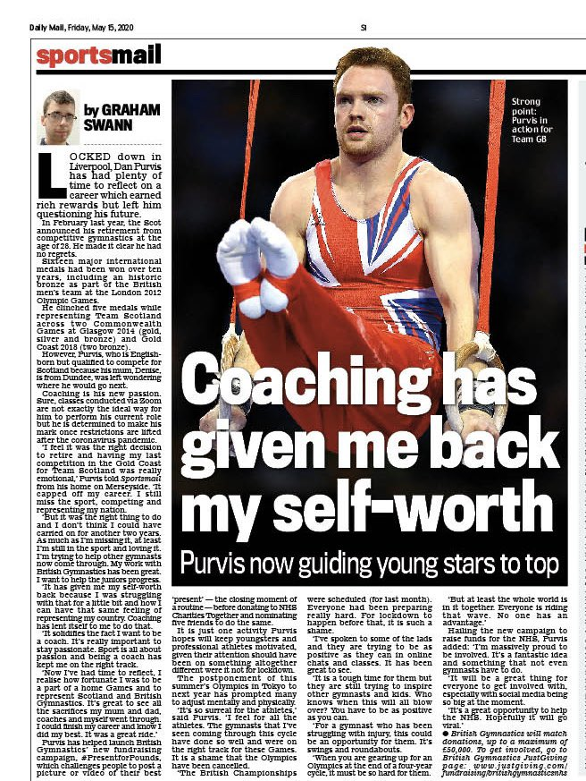 Nice to chat with @PurvisDanny who is determined to make his mark as a coach after retiring and is raising funds for the NHS @BritGymnastics @ScotGymnastics https://t.co/GPiQm2l4HF