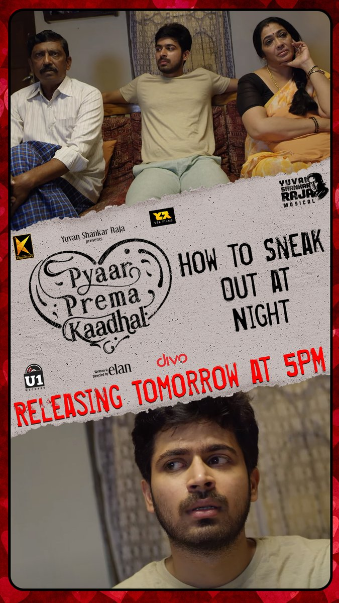 'How to Sneak Out at Night' - The next Deleted Scene from #PyaarPremaKaadhal Releasing Tomorrow at 5PM on @U1Records. Stay Tuned!  @iamharishkalyan @raizawilson @thisisysr @elann_t @YSRfilms @divomovies https://t.co/hX3XWuytYW
