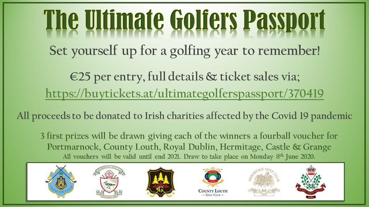 Set yourself up for a golfing year to remember! THE ULTIMATE GOLFERS PASSPORT Charity greenfee draw with all proceeds being donated to Irish charities affected by the Covid 19 pandemic. Full details and tickets via tickettailor.com/events/ultimat…