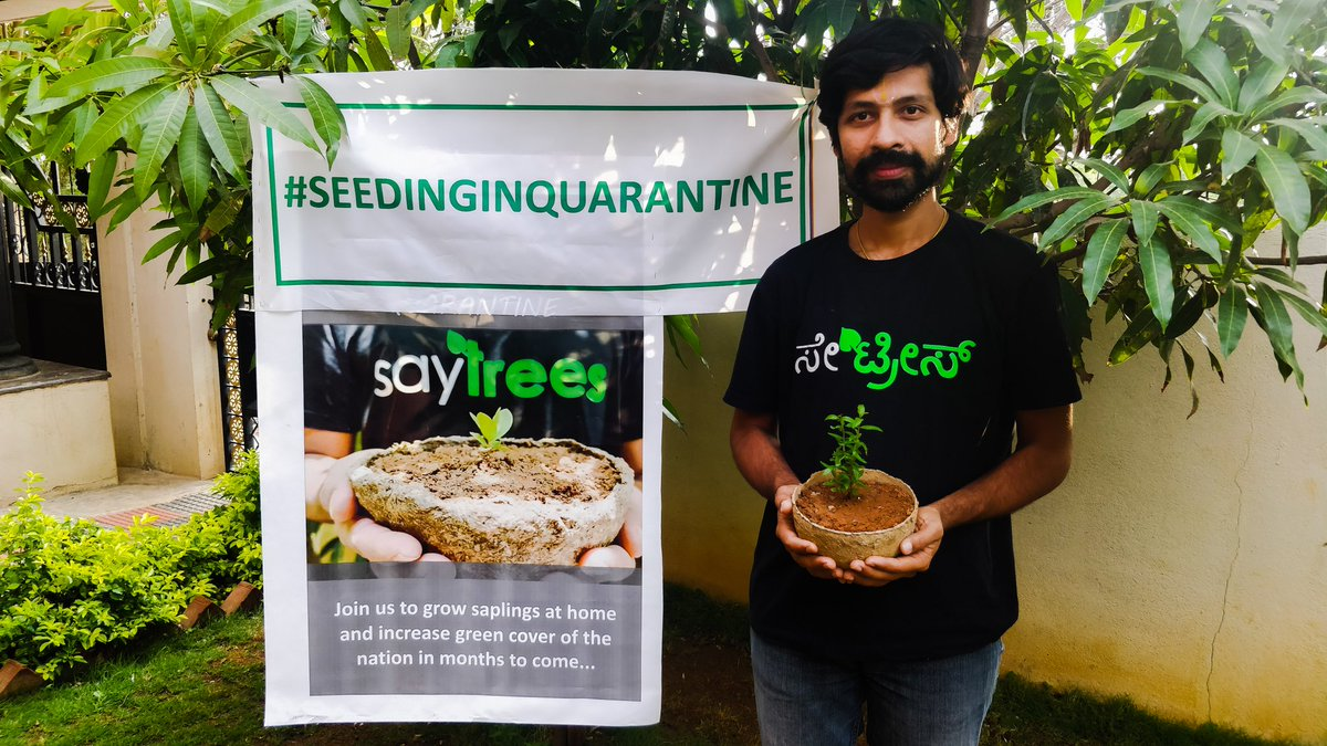 Our first session #seedinginquarantine with more than 250+ volunteers.  Taught our volunteers how to make biodegradable pots, select seeds and sow them from the things available in your home.  Join us in the movement in increasing the gree cover of the nation.  #PlantKarona https://t.co/CQ2GnFLrZv