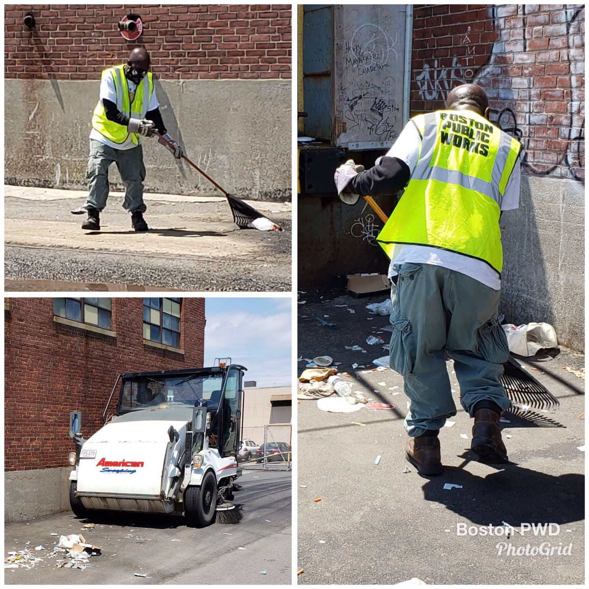 PWD's District 1 crew is busy cleaning and sweeping litter on Topeka St. in the #SouthEnd.