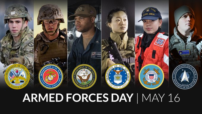 Armed Forces Day 2020 graphic image of service members from each military branch