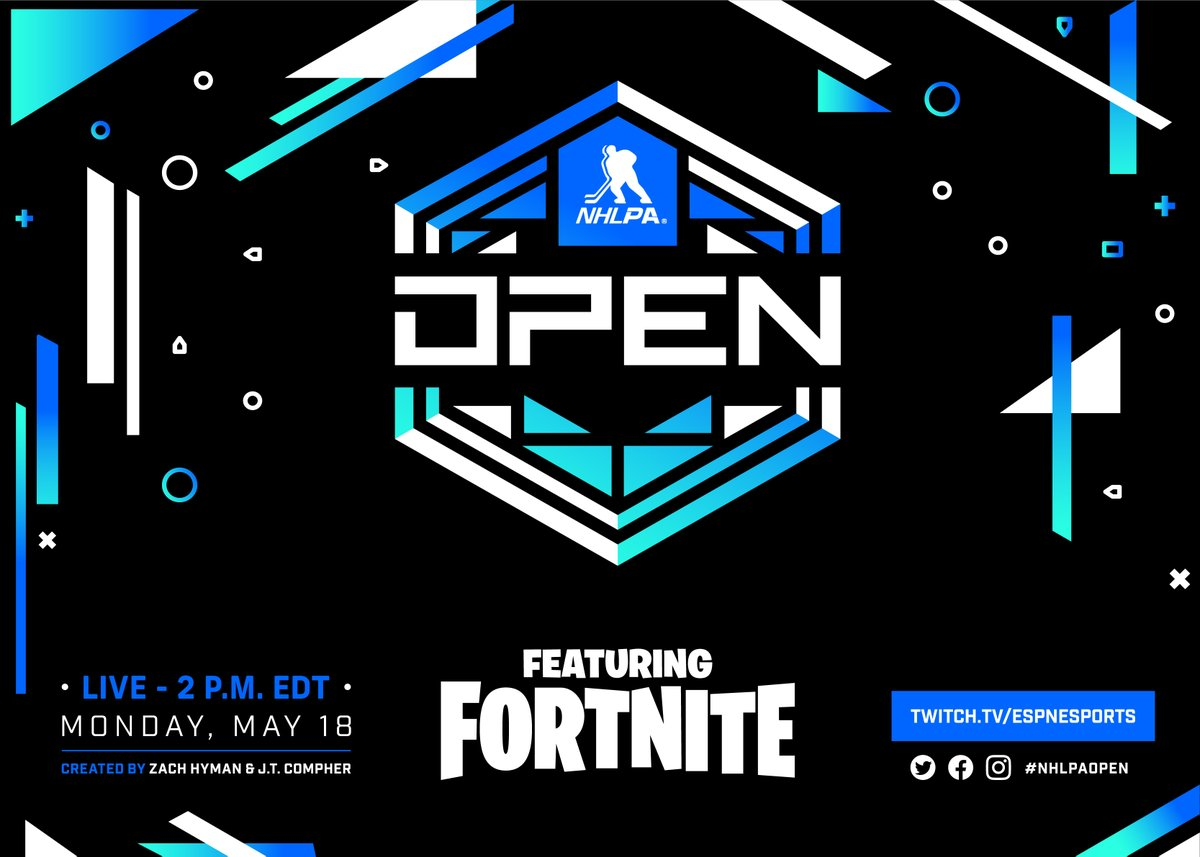 The NHLPA is proud to announce the #NHLPAOpen featuring Fortnite!   Over 60 players will unite May 18 as Trios to compete for $200K in charity prizing.   Everything you need to know 👉