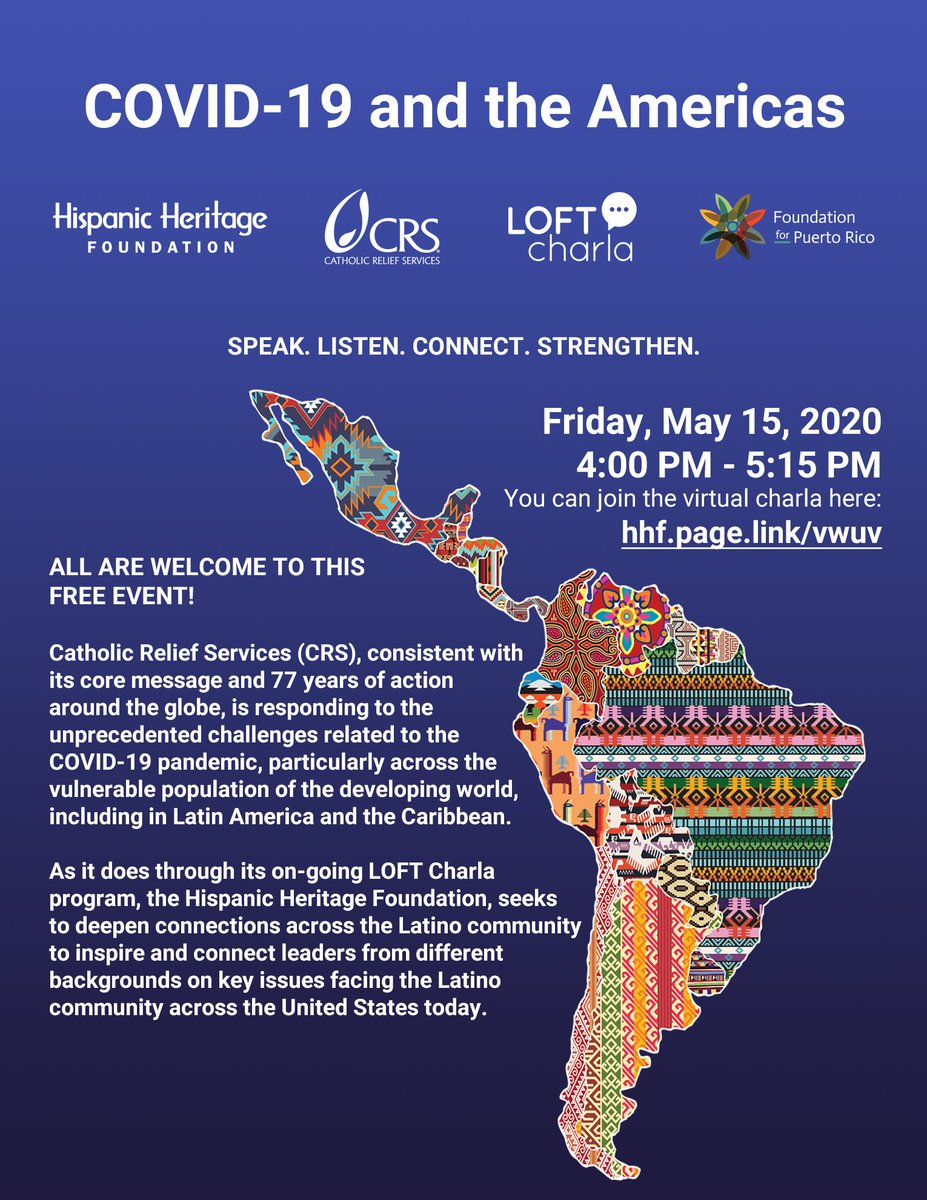 """TODAY at 4:00 p.m. (EST)! Join us: http://hhf.page.link/vwuv  """"COVID-19 and the Americas"""" virtual charla, hosted by @CatholicRelief, @HHFoundation & @Foundation_PR.  #HispanicHeritage #AllTogetherNowpic.twitter.com/4O2YR9bTk7"""
