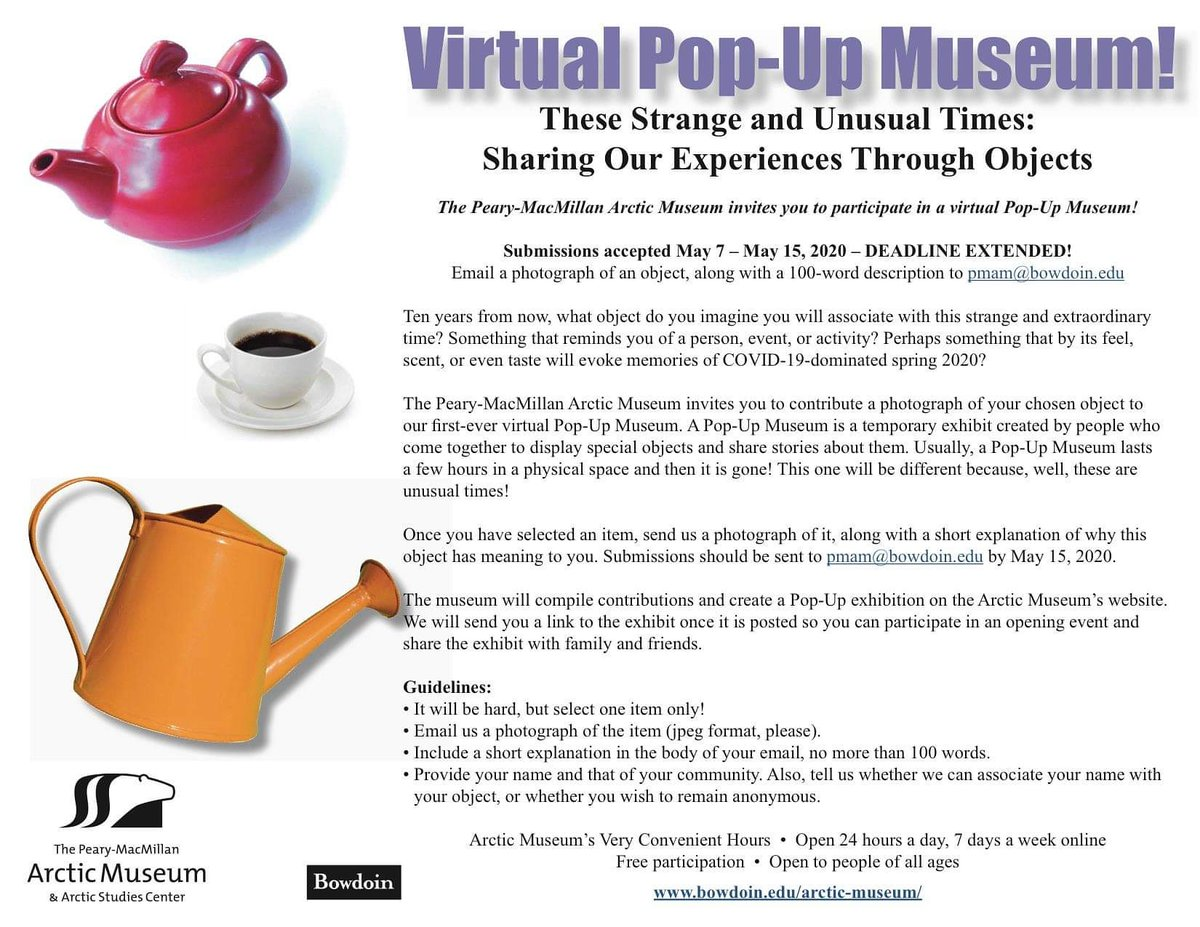 We want to hear your stories! Today is the last day you can submit your personal object to the virtual pop-up museum!  For more information follow this link: https://www.bowdoin.edu/arctic-…/…/pop-up-museum-invite.html  #bowdoin #socialdistancing #popupmuseum #museumfromhomepic.twitter.com/bmNLBOJPmW