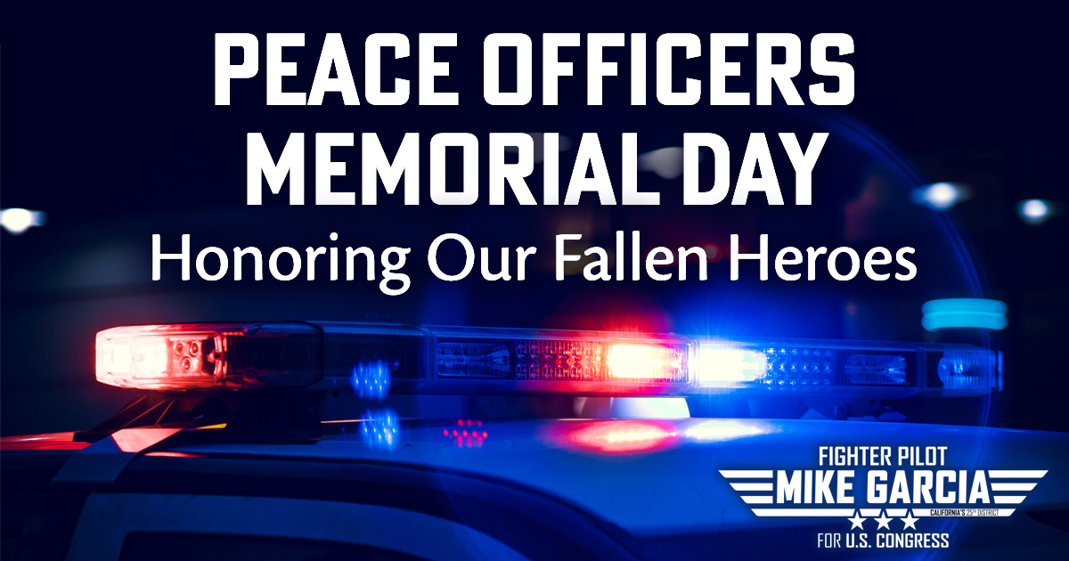 Join me today in honoring the courageous law enforcement officers who have laid down their lives serving our communities in #CA25 and across the country. We owe a debt of gratitude to these selfless men and women who made the ultimate sacrifice. #PeaceOfficersMemorialDay @lappoa<br>http://pic.twitter.com/YCp7pvxcO8